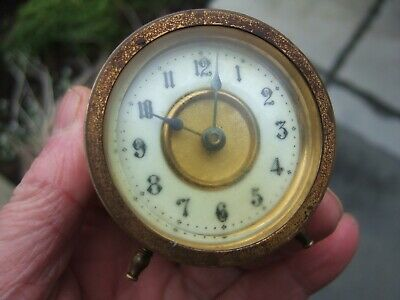 Old Victorian Brass Mantle Clock Small Mantel Clock Antique Tiny Old Clock