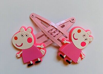 Peppa Pig Girls Hair Clips - Happy Suzy Sheep With  A Pink Dress x 2, New