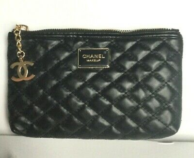 Chanel Makeup Beauty Gift Black PU leather diamond Quilting Pouch Cosmetics Bag