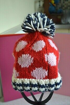 Next Girls Age 3-6 years Pull on Bobble Hat in Red, Pink and Navy