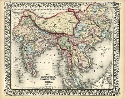 India Southeast Asia China Tibet Himalayas Malaysia 1872 Mitchell map