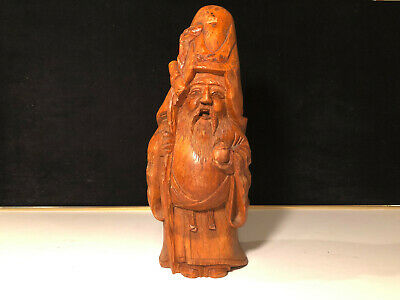 Antique Chinese Lohan Carving Solid Bamboo