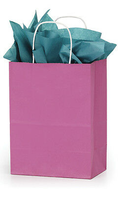 "Paper Bags Hot Pink Magenta 100 Retail Merchandise Shopping 8 ¼"" x 4 ¾"" x 10 ½"""
