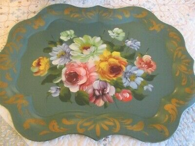 Large Hand Painted White Yellow Roses Vintage Sage Green Chippendale Tole Tray