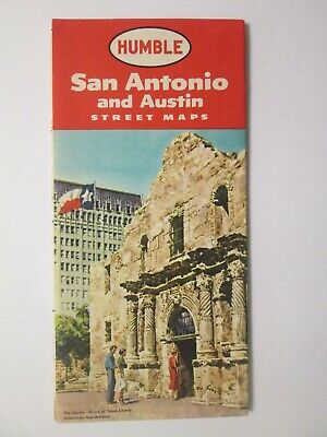 Humble Map of Austin and San Antonio 1957