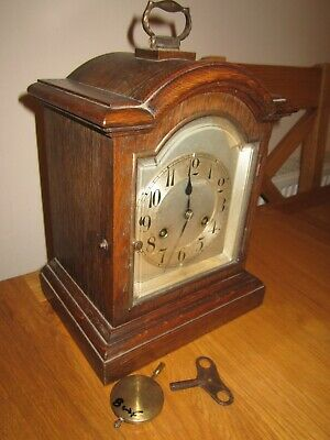 Antique Junghans oak cased clock mantle bracket style working chimes & key