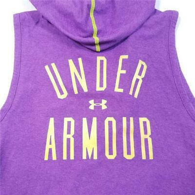Girls UNDER ARMOUR Active Sports Hooded Vest Jacket - L - Purple Yellow