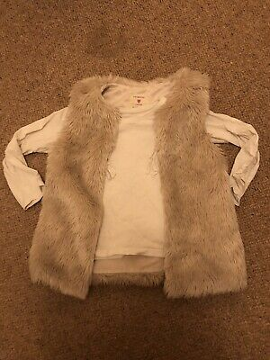 Girls Cream Fur Gillet And Top Age 4-5 Years