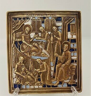 Russian orthodox bronze icon The Nativity of The Virgin. Enameled!