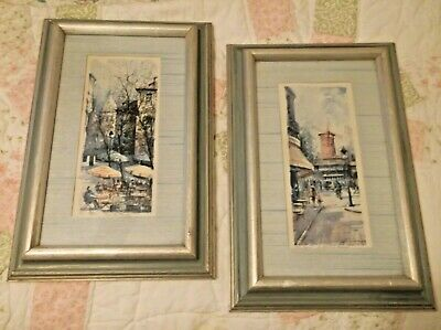 Vtg PAIR  FRENCH PARIS   MID CENTURY Framed  SET Prints ART Signed  DeLarue