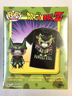 "Funko Pop Tees Animation Dragon Ball Z Perfect Cell 3.75"" Vinyl Figure & L Shirt"