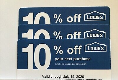 3-Lowe's Blue Card 10% Off For Home Depot+Other Comp Not Lowe's  Exp 07/15/20