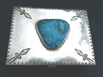 NATIVE AMERICAN STERLING Stamped TURQUOISE HANDMADE Vintage BOX Estate