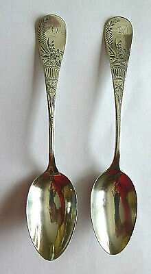 Antique Sterling Silver Spoons w/Engraved Floral Pattern