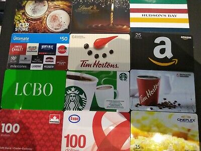 12 Used Collectible Gift Card No Value $100 Esso Tim Amazon beer petro bay lindt