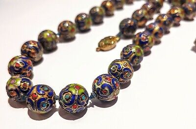 """Rare Blue Enamel Cloisonne Flower Beads Knotted Necklace 24.5""""- Antique Chinese"""