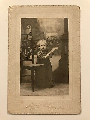 Antique Lancaster Ohio Young Reading Girl Cabinet Photo Card