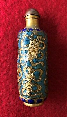 Antique Enamel and Brass Chinese Snuff Bottle (with original spoon C1890 – 1900)