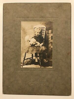Antique Frostburg Maryland Little Girl With Doll Cabinet Photo Card