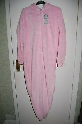 M&S Unicorn Fleece Sleepsuit Pyjamas with Hood Pink Age 15-16 Years BNWT
