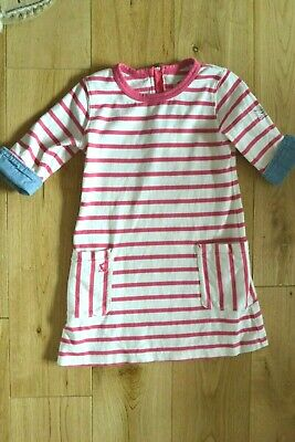 Joules Girl's Age 5 Dress in Pink/White Stripe