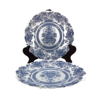 Set of 2 Arcopal Honorine Dessert Salad Plates Blue White Floral France 7 1/4""