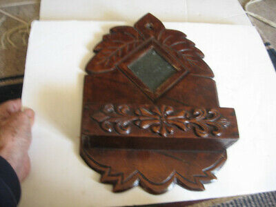 Vintage Antique Primitive Hand  Carved Wood Hanging Wall Comb Box