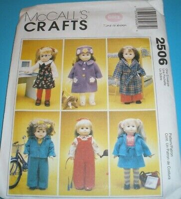 6 styles McCALLS 2159 Gotz Doll Dresses 18 inch Doll Clothes McCall Pattern Co