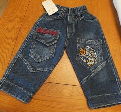 BNWT Babies Boys Blue Denim Jeans, size 6 months, Elasticated waist