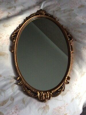 Decorative Carved Wooden Gilded Oval Mirror