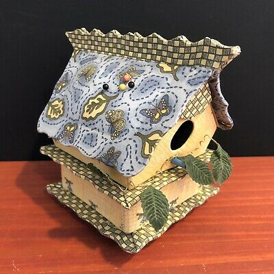 "Birdhouse Pin Cushion And Sewing Notions Box With 2 Compartments, 5"" Tall"