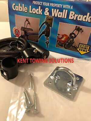 New Bulldog JS21 Cable Lock AND Wall Bracket for Bikes, BBQ's, Jet Skis, Trailer