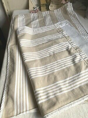 Vintage Fabric Cream Taupe Ticking Panels Cafe Curtains French Furnishings Pair