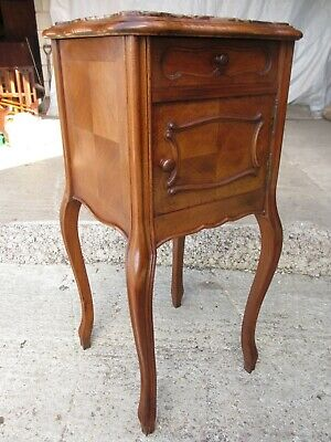 19th century French walnut and oak marble topped bedside cabinet (ref 765)