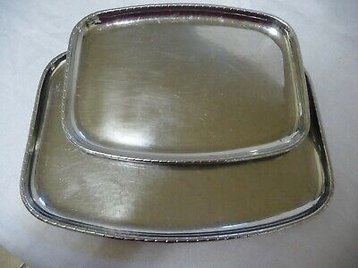 2 Vintage Staybrite Stainless Steel Tray Platter Keswick School Industrial Art