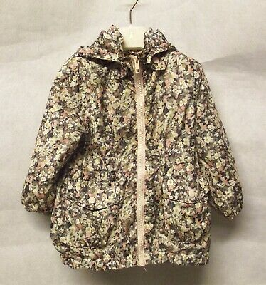 H&M Girls Raincoat Floral Fleece Lined Detachable Hood Age 1 1/2-2 Y