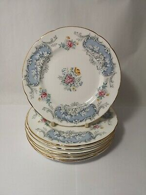 "Set of SEVEN Paragon Dubarry Blue Scalloped 6 1/4"" Bread & Butter Plates"