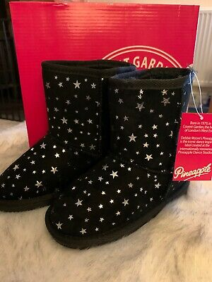 NEW Pineapple Girls Black Star Ankle Boots Size UK Infants 10 Shoes