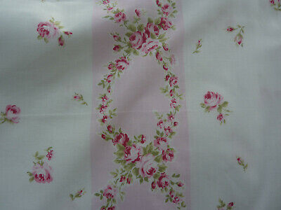 Yuwa 1940's Vintage Pillowcase Cotton Fabric Pink Raspberry Roses on White 1 Yd.