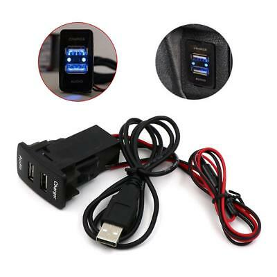 Twin Dual Double 2USB Port 12V 24V Car Socket Lighter Charger Adapter for Toyota