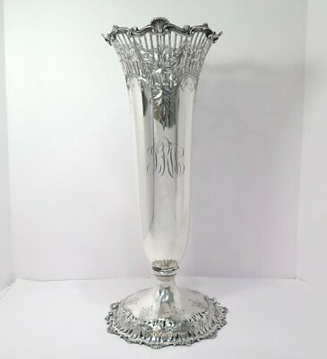 18 in - Sterling Silver S & E Antique Floral Shell Rim Vase