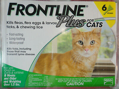 Frontline Plus Cats & Kittens Flea & Tick Control 6 Doses Brand New, Sealed