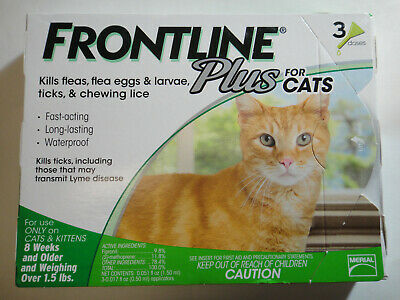 Frontline Plus Cats & Kittens Flea & Tick Control 3 Doses Brand New, Sealed