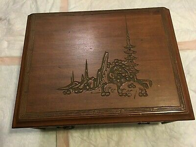 antique Oriental wooden jewelry boxes with carved artwork