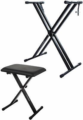 Double Braced X Frame Music Keyboard Stand Adjustable and Chair Piano Gift UK UK