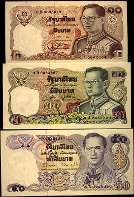 THAILAND: 3 LOVELY NOTES in  UNC CONDITION    NO  RESERVE