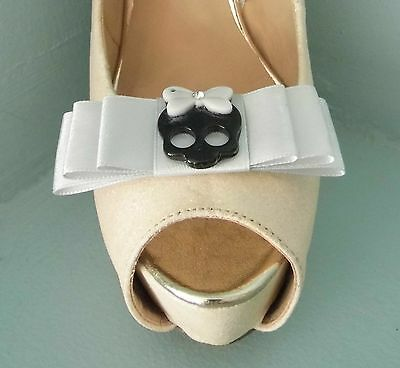 2 Quirky Silver Bow Shoe clips with Cute Black Skull
