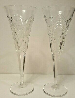 "WATERFORD Crystal Set of 2 Champagne Toasting Flutes 9+"" Tall Glass Bow Design"