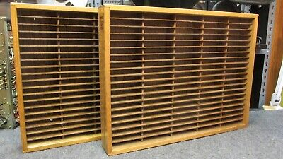 Pair of Napa Valley 100 Cassette Tape Rack Holder Wood Storage Wall Mountable VG