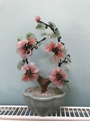 True Vintage Glass Jade Bonsai Flower Tree Chinese Green and Pink